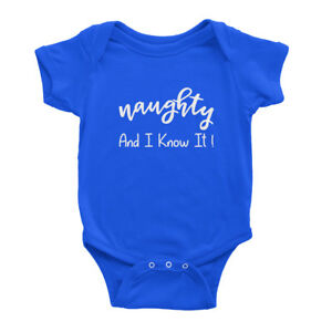 Naughty and I know it Cute Christmas Funny Quote Xmas Baby Bodysuit Baby Vest