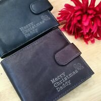Personalised Merry Christmas Engraved Men's Leather Wallet Son Brother