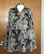 Tianello Womens Loving Blouse S Linen Floral Beige Black Pink Roll Tab Sleeve