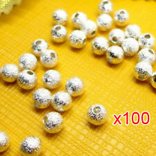 100pcs Spacer Beads Findings Stardust Silver Plated Base Round 4mm for Making