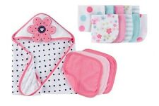14 Piece Gerber Baby Girl Bath Hooded Towel Set and Washcloths Baby Shower Gift