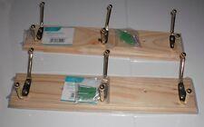 2 x NEW 3 HOOK HOOKS DOOR WALL HANGERS WOODEN PINE HAT COAT MOUNTABLE HANGER