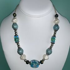 Vintage Blue Green Flower Millefiori Lampwork Art Glass Bead Necklace Magnetic