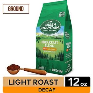 Green Mountain Coffee Roasters Breakfast Blend Decaf, Ground Coffee, Light 12 oz