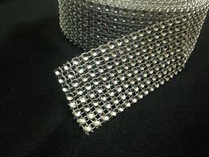 8&16 Rows Diamante Effect crystal Trim Decoration Ribbon Mesh Rhinestone-8 yard