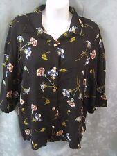 Vintage Kathie Lee Shirt Size 14 Floral Print Grunge Romantic Button Front