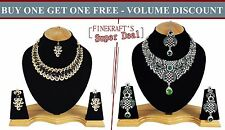 Gold Plated Party wear Zerconic Kundan Style Necklace Sets Volume Discount bg105