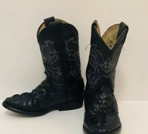 Herencia Boys Size 9.5 Black Boots Western Cowboy Handcrafted Leather Croc/Gator