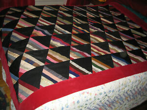 Vintage Crazy Quilt, machine &hand stitching, old wools and cottons, 5 1x 66