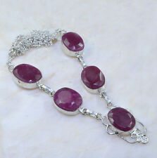 "Handmade Cherry Ruby Natural Gemstone 925 Sterling Silver Necklace 19.5"" #AA953"