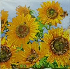 SUNFLOWERS MEADOW  2 individual LUNCH SIZE paper napkins for decoupage 3-ply