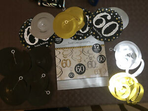 60 60th Birthday party tableware decorations _ banners napkins etc