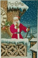 Patriotic SILK SANTA CLAUS with Toys~Horn~Flag~Antique Christmas Postcard-a556