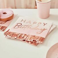 Happy birthday Napkins Pink Ombre Rose Gold Frils Party Decorations Milestone