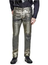 G By Guess Men's Skinny Moto Jeans Matteo Metallic Gold Foiled Finish Size 38