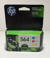 NEW HP 564 TRI-COLOR 3 ORIGINAL INK CARTRIDGES IN RETAIL BOX Exp Jan 2019