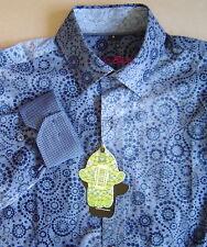 NWT $125 LUCHIANO VISCONTI BLACK Mens S BLUE OMBRE FLOCKED PAISLEY Shirt 35100