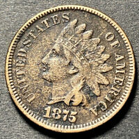 1875 Indian Head Cent 1c Semi Key Date XF Details Rare Full Liberty Type Coin