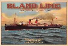 BLAND SHIP LINE POSTER STYLE ADV POSTCARD, IMAGE OF SS GIBEL SARSARc. 1910-1920s