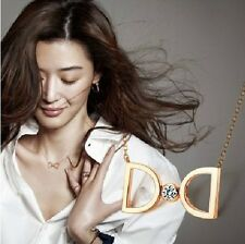Korean TV My Love From the Star Jun Ji-hyun 18K Rose Gold CZ gem 2-D Necklace