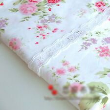 White Floral Fabric Cotton for Bed Sheet Bedding Homeware Craft Shabby Chic Rose