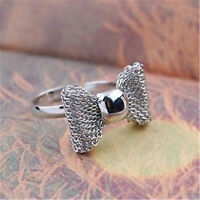Cute adjustable silver colour mesh bow ring