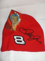 SET OF TWO NEW DALE EARNHARDT JR #8 NASCAR Red Ski Cap Beanie Hat NWT  COLLECTIB
