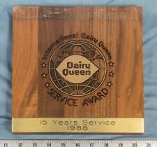 Dairy Queen International Service Award Plaque 1988 Vintage dq