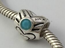 Authentic Chamilia December Heart Turquoise Birthstone Bead Charm I-48 New