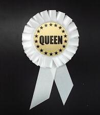Rosette Ribbon, Queen- Award- 6 Inch- White- Honor- Identity- Celebrate