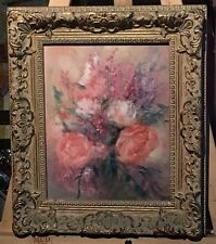 """Sally Seago Original Impressionist Oil Painting Pink Roses Bouquet 14x12"""" Framed"""