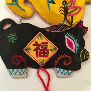 """Vibrant Embroidered Appliqué Chinese Zodiac Wall Hanging 46"""" Long Hand Stitched"""