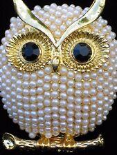 "GOLD CREAM PEARL OMEGA BRANCH HOOTIE HOOT OWL BIRD PIN BROOCH JEWELRY 1.75"" 3D"