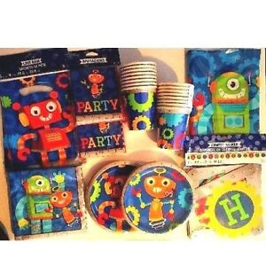 ROBOTS Birthday Party Supply DELUXE Kit w/ Loot Bags,Invitations & Banner