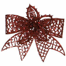 20cm Christmas Party Red Poinsettia Glitter Flower Bow Clip On Decoration