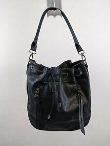 ALDO DRAWSTRING Handbag SHOULDER bag Purse BLACK FAUX LEATHER MEDIUM nwot