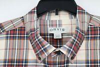 Orvis classic collection long sleeve button down shirt plaid cotton men's XXL