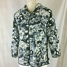 Susan Graver Jacket 1X Reversible Quilted Black White Grey Floral