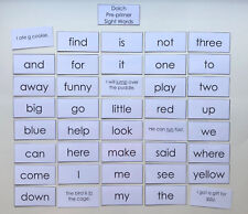 Teacher Made Resource Dolch Pre-primer Sight Word Flashcards Sentences on Back