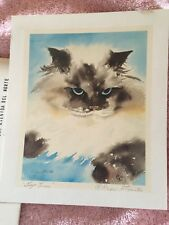 "Drew Strouble Lap Lion Print Signed 6"" X 7"" Cat Or Kitten Art"