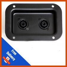 Recessed Connector Dish with 2 Neutrik NL4MP 4 Pole Speakon Connectors (Black)