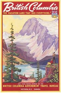 Vintage Travel Poster British Columbia The Vacation Land that has everything