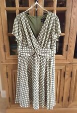 Connected Apparel Womens Size 14 Career Dress V-Neck Green White Polka-dot Flare