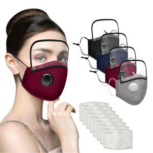 Adults Washable Reusable Face Mask With 2PC Filter And Detachable Eye Shield UK