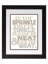If You Sprinkle Family Bathroom Rules Wall Art Print poster brown neutral