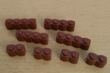 Lego 1 x 2 and 1 x 4 log bricks in Reddish Brown 30136 30137 4 of each NEW