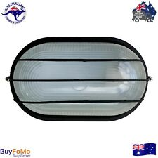 Oval Caged Bunker Light Black Outdoor Bulkhead Wall Light LED compatible IP54