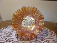 BEAUTIFUL IMPERIAL GLASS MARIGOLD CARNIVAL GLASS GRAPE AND CABLE BOWL