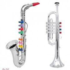 Kids Saxophone Trumpet Horn Music Toys Set of 2 Musical Wind Instruments Gift