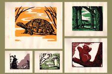5 Vintage Folk Art Forest Animal Silkscreen Suite by Valerie Swenson